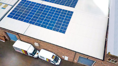 Perton Signs show their commitment to the environment with Solar Panels . Installed in 2019, they now provide over 50% of Perton's electricity, using renewable energy, reducing costs and helping to save the planet. Green energy. Renewable energy